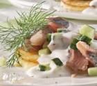 Matjes-Salat auf gedünsteten Apfelscheiben
